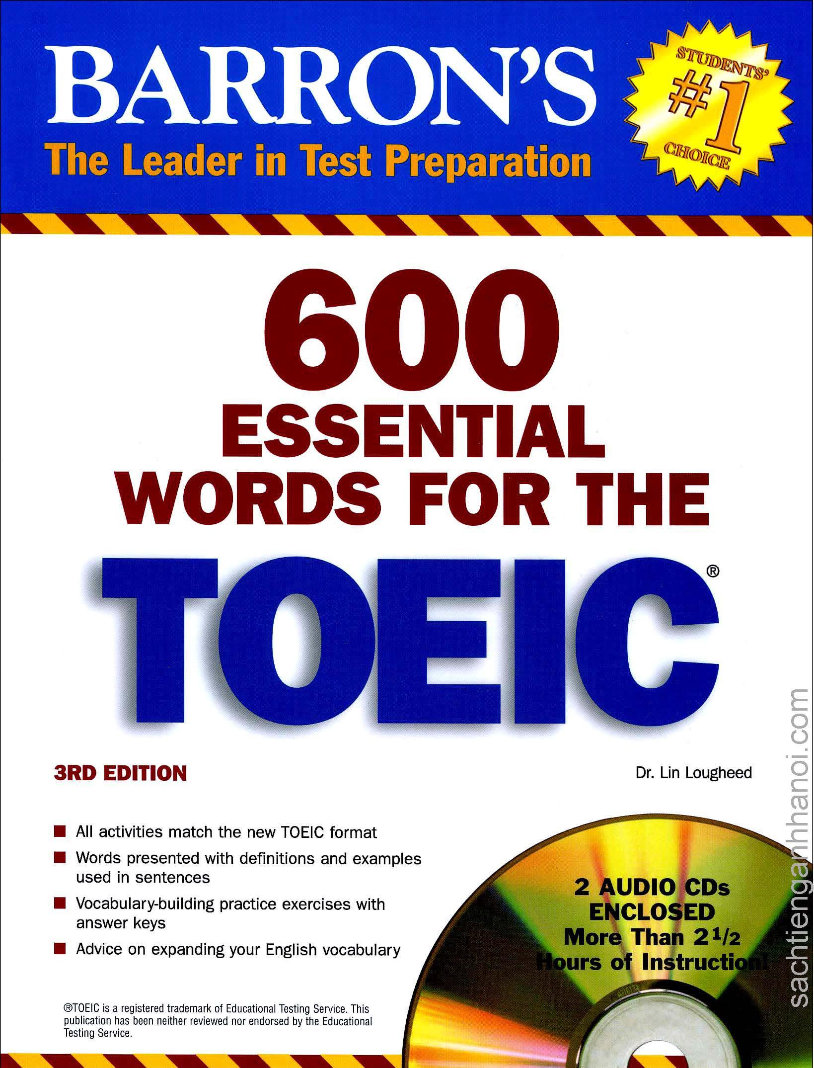 Sách] Barron's 600 Essential Words for The TOEIC (3rd Edition) - Sách gáy xoắn - SÁCH TIẾNG ANH HÀ NỘI